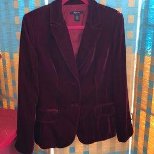 Style & Co 14 soft velvet deep red/maroon blazer